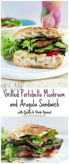 Grilled Portobello Mushroom and Arugula Sandwich with Garlic & Herb Spread | C it Nutritionally #vegan