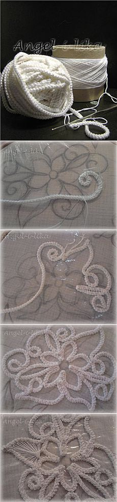 "Dentelle de cordonnet au crochet ""Couching with crochet chains?"", ""Great idea, crochet and embroidery!"", "" A great technique for embellishing large p Freeform Crochet, Irish Crochet, Crochet Motif, Crochet Flowers, Crochet Lace, Crochet Stitches, Crochet Patterns, Russian Crochet, Doilies Crochet"