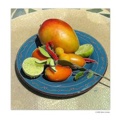 Mango Salsa Ingredients -   Blue Plate Mango by Debra Cortese available as a giclée print on paper or canvas. Also limited edition mixed media on canvas.