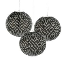 Black Chevron Hanging Paper Lanterns