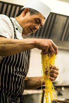 Canton Chef preparing noodles