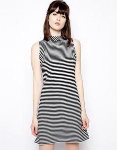 Pop Boutique Sleeveless Swing Dress in Stripe