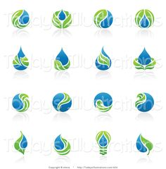 Royalty free clipart of a digital collage of sixteen green leaf and water droplet logo icons. This water drop stock image was designed and digitally rendered by elena. Water Drop Logo, Water Logo, Aqua Logo, Green Logo, Icon Set, Agriculture Logo, Background Design Vector, Vector Design, Graphic Design