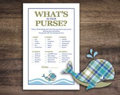 Instant Download, Gingham Whale  Baby Shower What's In Your Purse Game Cards, Printable Whale Theme Party Sheets for Boy, Plaid Whale 20A on Etsy, $1.50