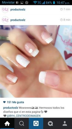 New manicure novias blanco 27 ideas Neue Maniküre Novias Blanco 27 Ideen Love Nails, Pretty Nails, Nail Decorations, Creative Nails, French Nails, Manicure And Pedicure, Diy Nails, Nail Tips, Nails Inspiration