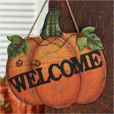 "Wood Pumpkin ""Welcome"" Sign Fall Harvest Hanging Plaque Thanksgiving Decor…"