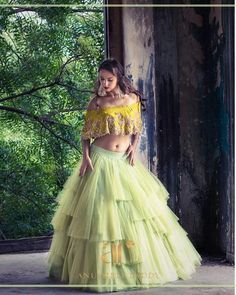 How pretty is this dramatic tulle lemon green lehenga by Anushree Reddy Lehenga Choli Designs, Bridal Lehenga Choli, Net Lehenga, Lehenga Top, Kids Lehenga, Indian Wedding Outfits, Bridal Outfits, Indian Outfits, Girly Outfits