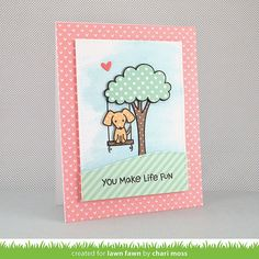 Lawn Fawn - Let's Play, Let's Polka, Mon Amie colleciton paper, Stitched Rectangle Stackables, Stitched Hillside Borders _ card by Chari for Lawn Fawn Design Team