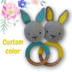 Crochet bunny teething ring - Baby shower gift - Baby rattle - Wood rattle bunny - Wooden rattle - Crochet baby toys - Baby toys rattle hare by PincushionLV on Etsy Diy Crochet Cardigan, Crochet Blanket Edging, Crochet Scarf Easy, Crochet Patterns Free Women, Crochet Hat For Women, Crochet For Boys, Crochet Baby Cocoon, Crochet Baby Toys, Crochet Bunny
