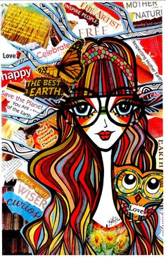 Positive Girls with Owls Art Decor Collection by HollyBlissArt, $20.00