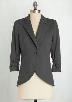 Esley Fine and Sandy Plus Size Blazer in Stone