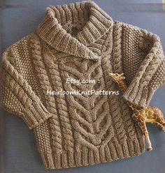 *********Instant Download Knitting Pattern PDF - 442********* Baby Toddlers Stunning Fishermans Pullover/ Cable Sweater. A timeless design with multiple cables & shawl collar to keep your baby cosy & warm. Requires little shaping so not very difficult to make it larger if you are experienced. in two sizes. *You must be able to read from charts*. Central Cable panel - gorgeous but simple to knit. AGE TO FIT 6-9 months; 12-18 months. YOU WILL NEED DK weight yarn, 4 & 3.5mm knit...