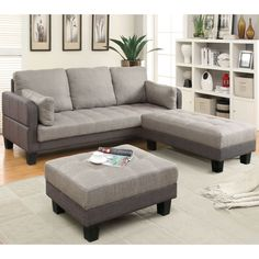 Make the most of your living space while surprising guests with this completely multi-functional futon and double ottoman set. The unique transitioning design ensures you can convert the three piece set into a full size bed easily
