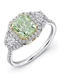 Uneek green diamond engagement ring set in 18K white gold I Style: LVS917 I https://www.theknot.com/fashion/lvs917-uneek-fine-jewelry-engagement-ring?utm_source=pinterest.com&utm_medium=social&utm_content=june2016&utm_campaign=beauty-fashion&utm_simplereach=?sr_share=pinterest