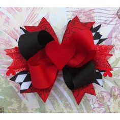 Alice in Wonderland hair bow Queen of Hearts disney hair bow cute... ($7.50) ❤ liked on Polyvore featuring accessories, hair accessories, bows, disney, alice in wonderland, red headband, headband hair accessories, crochet hair accessories, bow headwrap and crochet headbands
