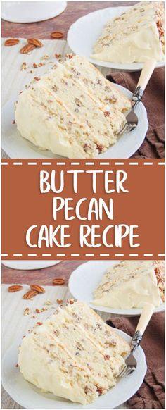 BUTTER PECAN CAKE RECIPE #butter #pecan #cake #foodlover #homecooking #cooking #cookingtips Pecan Recipes, Sweet Recipes, Baking Recipes, Healthy Recipes, Cupcake Recipes, Cupcake Cakes, Dessert Recipes, Dinner Recipes, Cupcakes