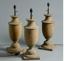 Wooden urn lamp base