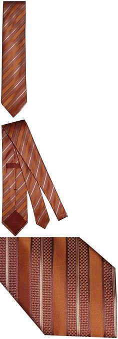 Other Mens Clothing 313: New Brioni Satin Orange Tones Fancy Diagonal Stripes 100% Silk Mens Neck Tie -> BUY IT NOW ONLY: $175.75 on eBay!