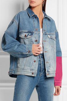 Off-White | Oversized embroidered flocked denim jacket | NET-A-PORTER.COM