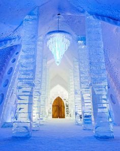 Stay at Quebec City's Hôtel de Glace—a hotel made almost entirely of ice—where you can drink at an ice bar or hop in a sauna #GrouponGetaways