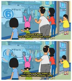 """Bob's Burgers - News - """"They'll finger anything with a  pulse!"""" Bobs Burgers Funny, Bobs Burgers Quotes, Trending Memes, Bobs Burgers Louise, Funny Things, Good Things, Random Things, Random Stuff, Tina Belcher"""