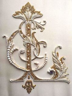 "Wonderfully ornate ""L"" monogram - done in traditional Russian pearl embroidery - featuring goldwork and crystals in addition to all those glorious pearls. This is the work of the very talented Larissa Borodich and you can see more of her work on her Pinterest page at https://www.pinterest.com/lorissb/embroidery-i-made/"