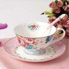 Serie Rose China creativa Tazas cerámica té de la tarde costoso Bone China Tazas y platillos de traje(China (Mainland))