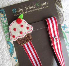 Baby Girl Pacifier Clip, Cupcake Pacifier Clip, Red Candy Stripe Pacifier Holder, pccake09