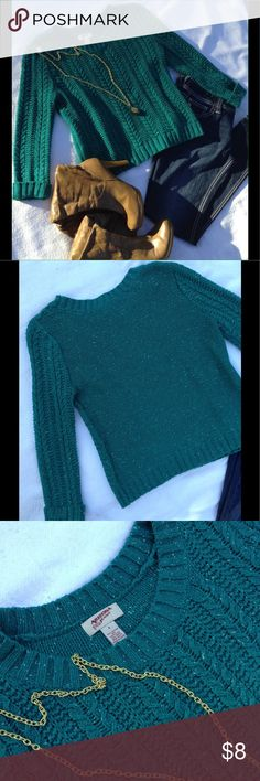 Dark green-blue sweater GUC dark green-blue sweater with bits of white mixed in. No peeling or loose threads. Size small. Sweaters Crew & Scoop Necks