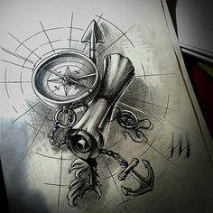 Creative Cross Tattoo Designs Ideas to Make Your Happy - Tattoo - Tatoo Ideen Map Tattoos, Bild Tattoos, Anchor Tattoos, Tattoo Drawings, Body Art Tattoos, Sleeve Tattoos, Cool Tattoos, Compass Tattoo Design, Cross Tattoo Designs