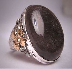Antique Victorian Smokey Quartz Ring Gold Floral Art Deco 1900  Purchase at Aawsomblei Antique Jewelry.