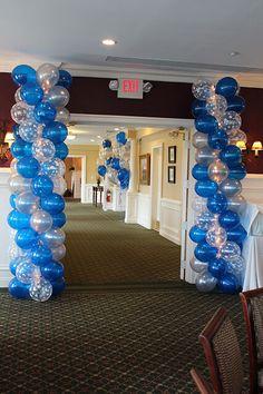 Balloon Arches & Columns - Blue & Silver Balloon Columns