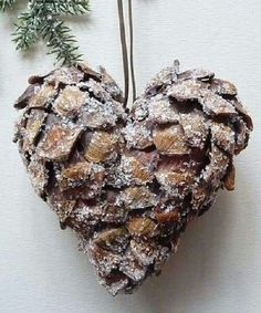 🎄 Rustic Christmas DIY~ Glue 2 pinecones together to make a heart Christmas ornament and sprinkle with glitter snow (needs red berries! Noel Christmas, Homemade Christmas, Rustic Christmas, Winter Christmas, Diy Christmas Ornaments, Christmas Decorations, Craft Decorations, Christmas Events, Christmas Wreaths