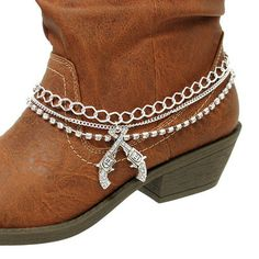 SILVER CHAIN BOOT ANKLET/BRACELET WITH REVOLVER/GUN CHARM FOR BOOTS   eBay