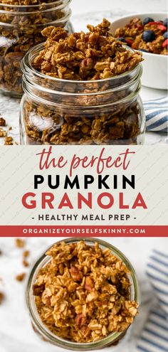 This Pumpkin Granola is everything Fall dreams are made of. Each bite is filled with crunchy pecans, maple, and all the flavors of pumpkin spice. It's delicious and addicting! Enjoy this perfect healthy breakfast or snack recipe sprinkled on top of yogurt, in a bowl with milk, or with a side of fruit. Organize Yourself Skinny Healthy Meal Prep Recipes | Healthy Snack Recipes | Healthy Weight-Loss Recipes Healthy Desserts For Kids, Quick Easy Desserts, Quick Snacks, Healthy Breakfast Recipes, Healthy Breakfast On The Go, Healthy Breakfast Smoothies, Breakfast For Kids, Pumpkin Granola, Pumpkin Spice