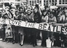 "Fans At JFK Airport As The Beatles Arrive For the First Time In America....The ""Boys"" Thought, Wrongly, That President Kennedy Must Be Landing When They Looked Below & Saw the Crowds...Oh, What Was To Come!!"