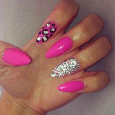 stiletto acrylic nails pink