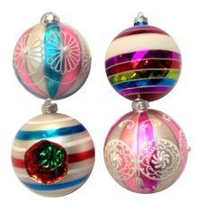 Glazen Kerstballen gestreept set.4 - AllesinWonderland.nl
