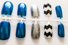 Blue fake nails chevron acrylic nails glitter