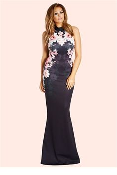 0b240e3b740 Jessica Wright Peaches Halterneck Placement Print Maxi Dress Prom Dresses