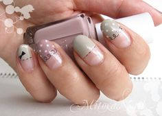 opaque nails with cute designs!