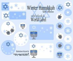 Hanukkah labels and templates for free, Designed by Shy Socialites. A winter theme
