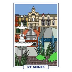 Features of St Annes - a high quality print reproduction of an original artwork from the Seaside Emporium