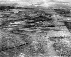 WW1, 1916. An annotated aerial shot of part of the Western Front in France…