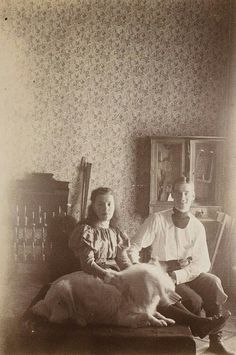 Grand Duchess Olga Alexandrovna Romanova of Russia with the Grand Duke Mikhail Alexandrovich Romanov of Russia at Gatchina in the 1890s.