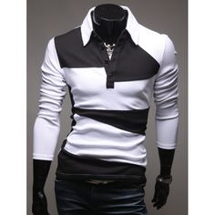 12.64$  Buy here - http://dij1g.justgood.pw/go.php?t=199222801 - Button Design Long Sleeve Polo Collar T-Shirt