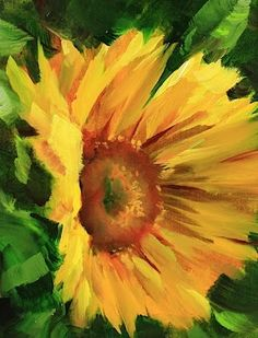 Sunflower Shine Flower Painting by Texas Artist Nancy Medina, painting by artist Nancy Medina