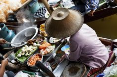 Thailand's floating markets don't just guarantee a colorful cultural experience but the abundance of great food make for the perfect outing!
