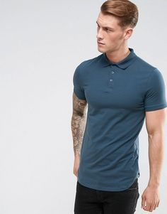 a3942b17 ASOS Longline Muscle Polo In Dark Gray With Bound Curved Hem at asos.com. Polo  Shirt StylePolo ShirtsBurton MenswearLong Sleeve ...