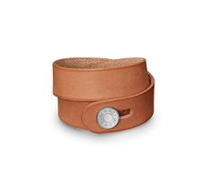 "Hector Hermes leather bracelet (size XS) Natural/sand cowhide  Palladium plated hardware, double tour, <6.7"" circumference."